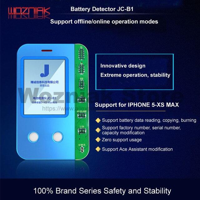 Caja de pruebas de batería WOZNIAK JC B1 para iPhone 5S, 6, 7, 8 X XS, condición máxima de batería, control y pruebas de rendimiento y capacidad de vida útil