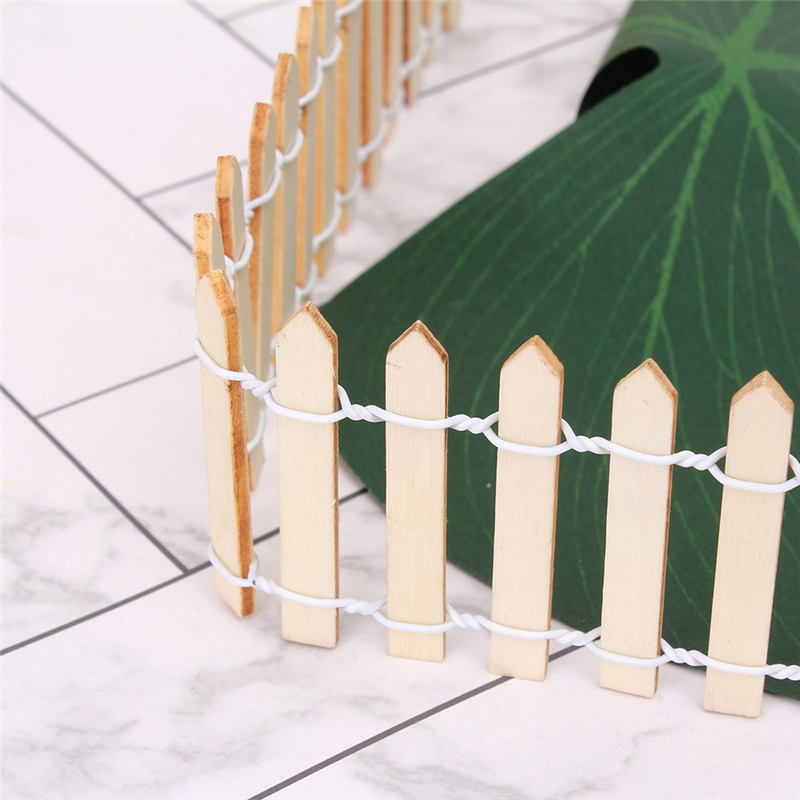 100CM Length Miniature Small Wood Fence DIY Fairy Garden Micro Dollhouse Plant Pot Decor Home Bonsai Ornament Miniature Garden