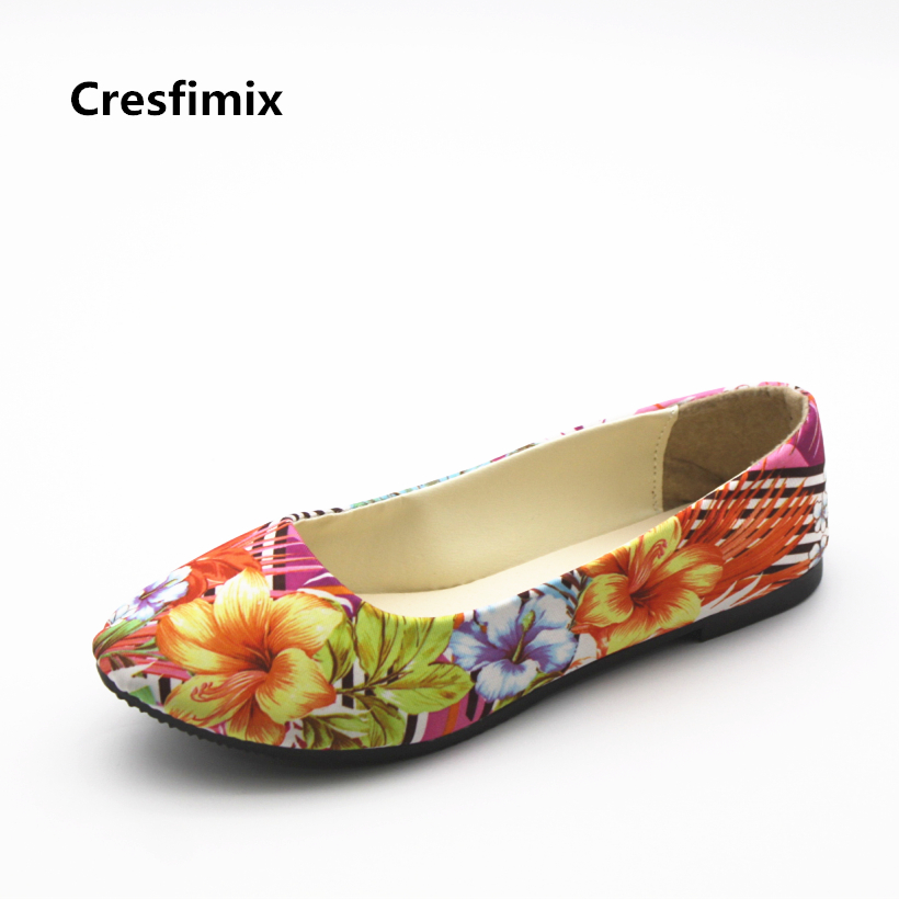 Cresfimix zapatos de mujer women casual plus size spring slip on flat shoes lady leisure floral pointed toe flats office shoes cresfimix zapatos de mujer women casual spring