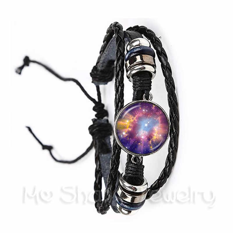 2018 многоцветный ручной работы натуральная Туманность галактика космическое стекло кабошон плетеный кожаный браслет панк ювелирные изделия подарок для мужчин и женщин