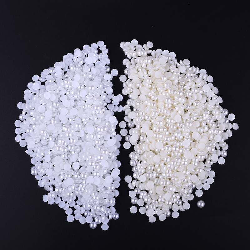 <font><b>1000</b></font> piece/lot 6MM <font><b>DIY</b></font> White/Beige Half Round Imitation Acrylic Pearl Spacer Loose Charms Beads <font><b>DIY</b></font> Wholesale Jewelry image
