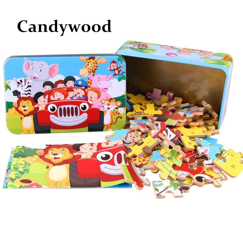 Candywood 60pcs Cizgi filmi Heyvan Puzzle Dəmir Qutusu Uşaqlar - Bulmacalar - Fotoqrafiya 2
