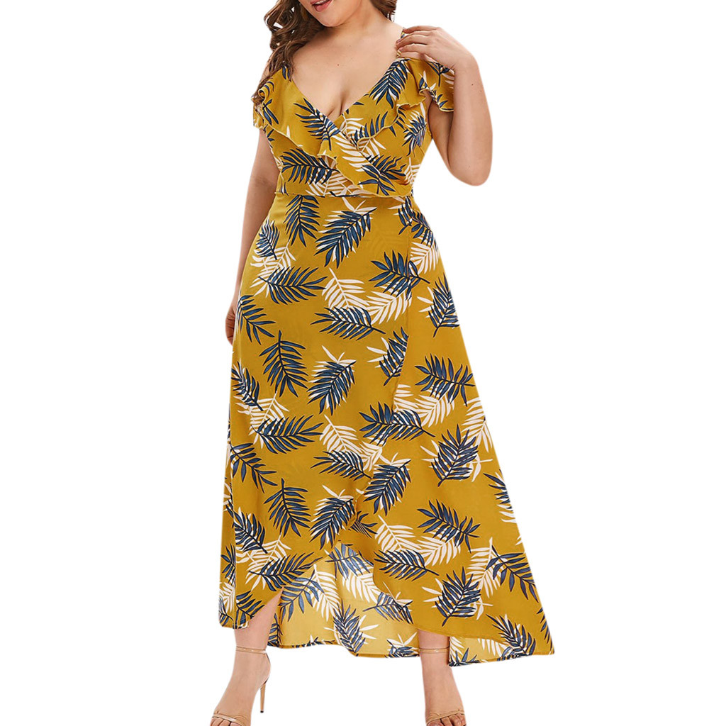 US $3.21 22% OFF|Plus Size Maxi Dress For Women V neck Sleeveless Straps  Cold Shoulder Bohemian Style Floral Print Womens Beach Long Dresses New-in  ...