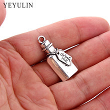 10pcs Fashion drink me Wine Bottle Shape Pendant Charms Trendy Alloy Silver Charms Jewelry For DIY Making 32*15mm(China)