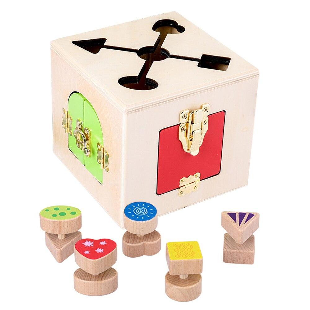 Jouets en bois Montessori petite boîte de verrouillage jouet préscolaire Montessori matériaux éducation en bois jouets sensoriels enfants jeux cadeaux