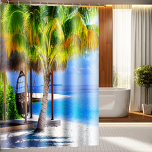3d Shower Curtains Seascape and Coconut Tree Pattern Bathroom Curtain Waterproof Thickened Bath Curtain Customizable недорого