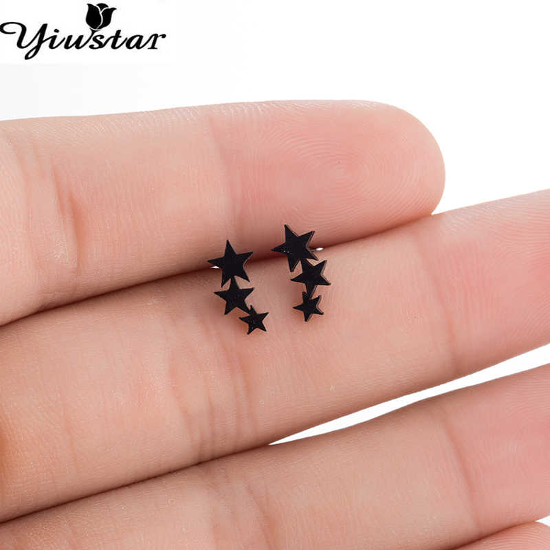 Yiustar Cute 3 Star Earrings Black Color Stainless Steel Stud Earrings for Women Children Smooth Star Cartilage Ear Studs