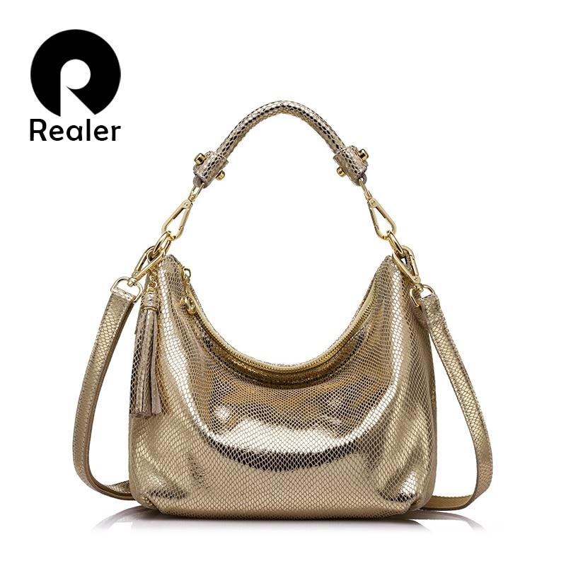 REALER brand women genuine leather shoulder bag serpentine pattern small handbag Female casual tote bag lady crossbody bags