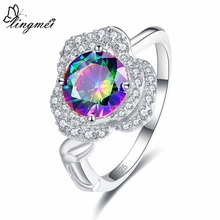 lingmei Cluster Exquisite Fashion Jewelry Round Cut Rainbow & White Cubic Zirconia Silver Ring Size 6 7 8 9  10 11 12 Gifts