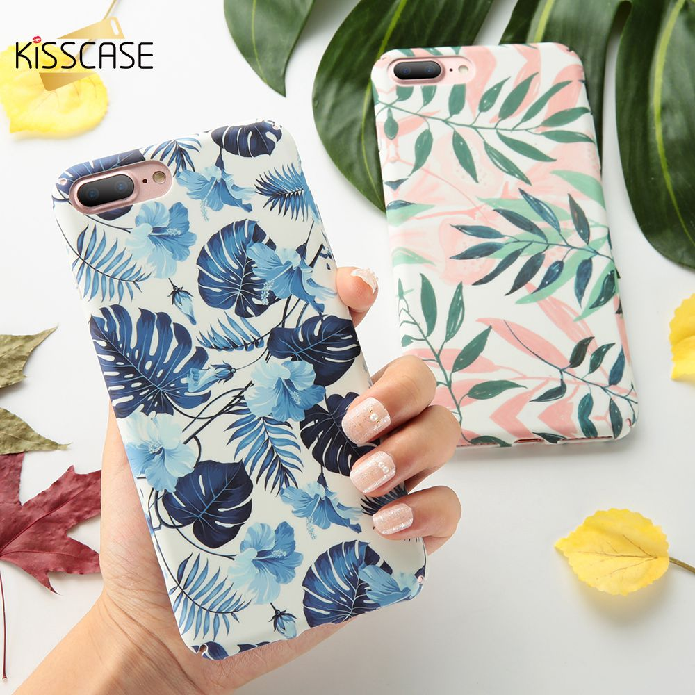 KISSCASE Flower Patterned Case For iPhone X XR XS Max Hard PC Matte Back Cover For iPhone