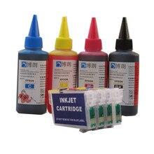 T1281 refillable מחסנית דיו עבור epson Stylus S22 SX125 SX130 SX230 SX235W SX420W SX425W SX430W מדפסת + 4 צבע צבע דיו 400ml