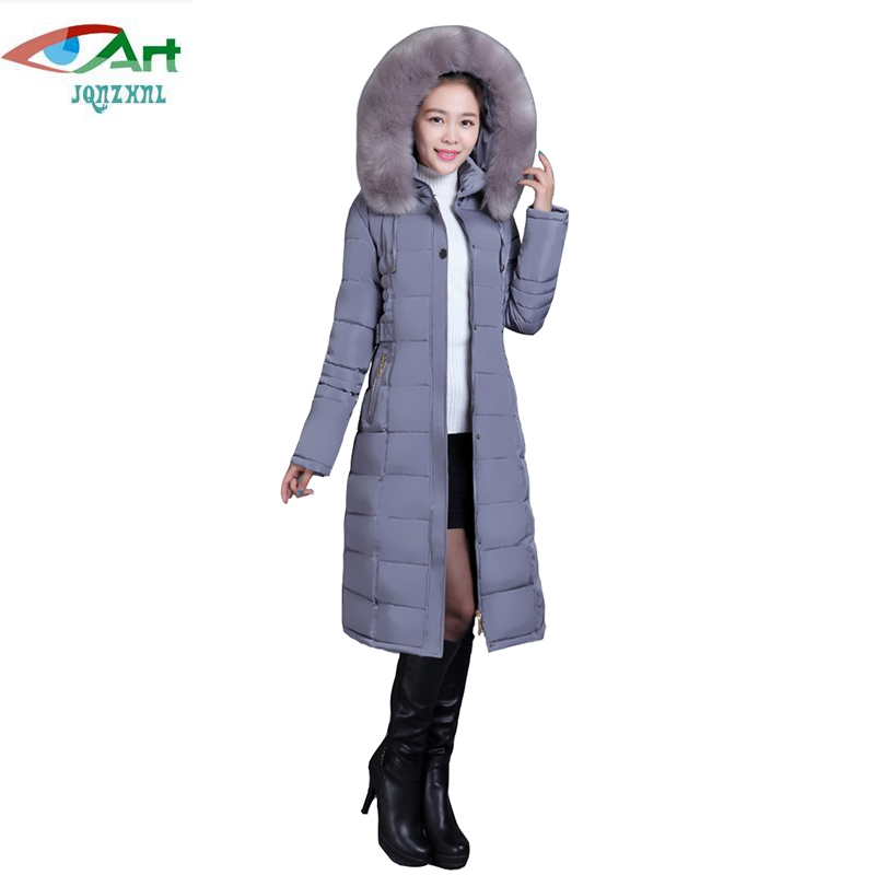 JQNZHNL Women Down Cotton Coats Plus Size 2017 Winter Down Parkas Medium Long Fur Hooded Thicken Cotton-padded Jacket Coats E786 winter jacket female parkas hooded fur collar long down cotton jacket thicken warm cotton padded women coat plus size 3xl k450
