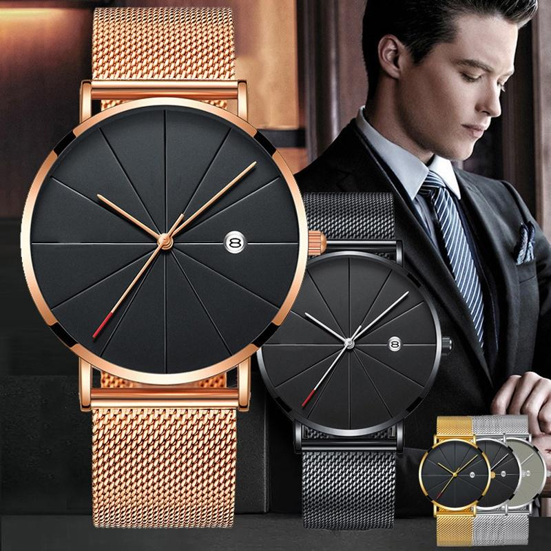 Stainless Steel Quartz Wristwatches Fashion Gold Men Watches Ultra-thin Watches Classic Quartz Date Casual Mesh Belt Wristwatch HTB1sHL0dW5s3KVjSZFNq6AD3FXa5