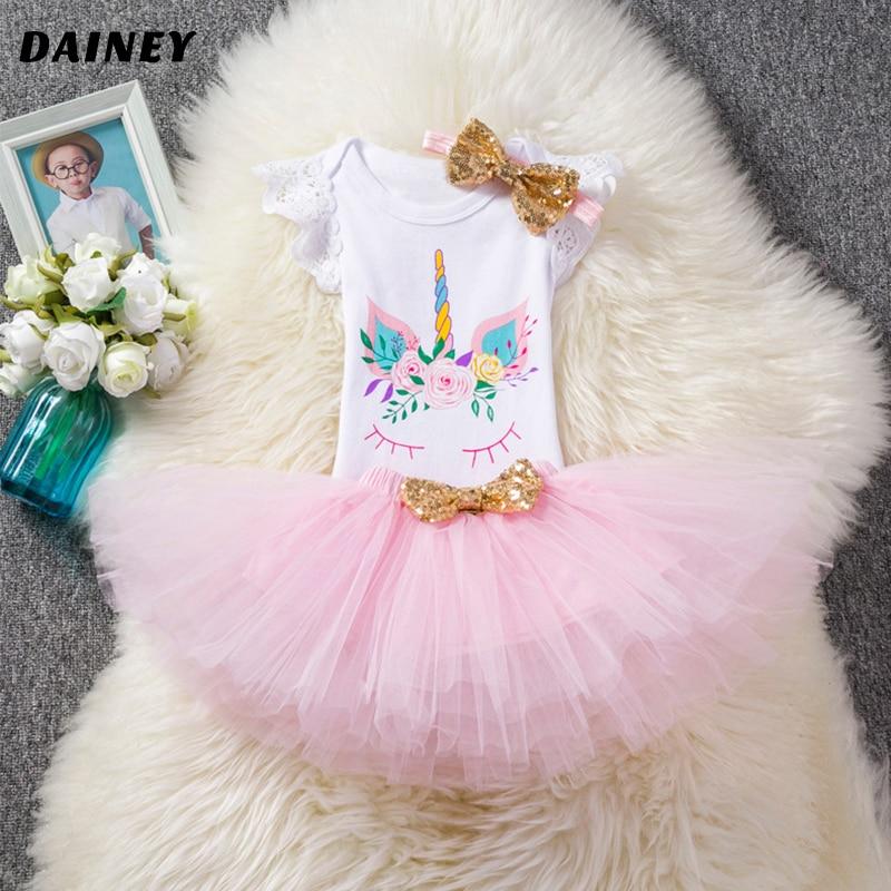 New Baby Girl Clothing Summer Sequin Bow Newborn Dress (Tops+Headband+Dress) 3pcs Clothes Bebe Set First Birthday Vestidos LYQ24