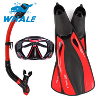 Whale Brand High Quality Long Diving Flipper Equipment Diving Mask Snorkel Fins Set With 4 Colors