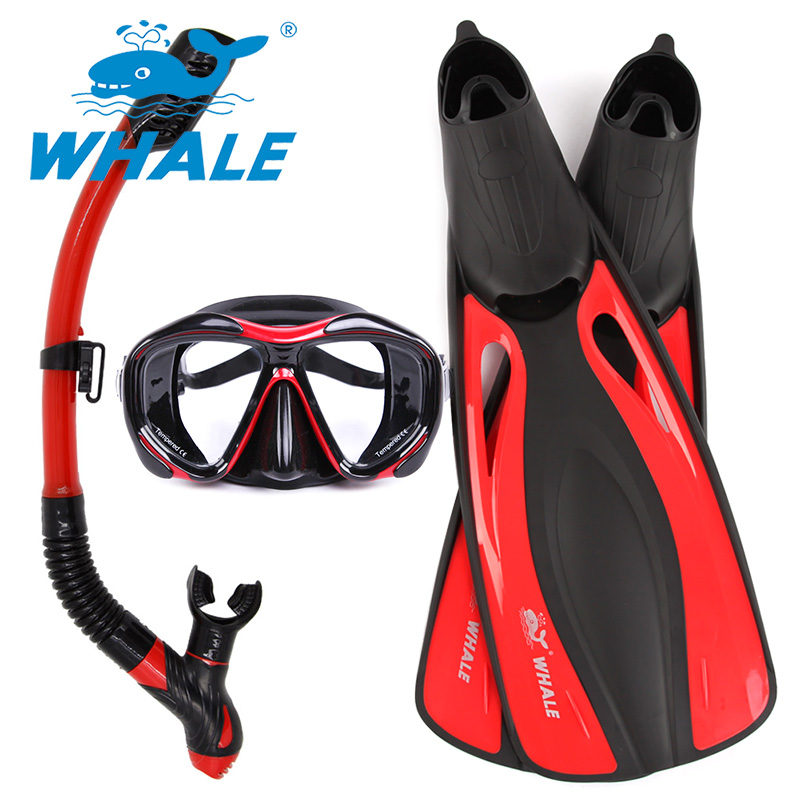 ФОТО Whale Brand High Quality long Diving Flipper Equipment Diving Mask snorkel fins set With 4 colors FN600+MK2600+SK900