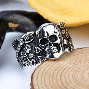 Image 4 - Skull Ring for Men 925 Sterling Silver Skeleton Walking Evil Demon Vintage Punk Rock Cool Skull Ring for Men Fashion Jewelry