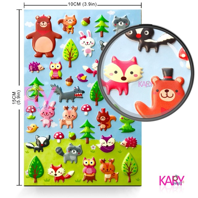 US $1 99 |New Cute Forest Animals Bubble Scrapbooking Stickers Owl Fox Elk  Deer Raccoon Wolves Bear Mushroom Emoji Reward Toy For Children-in Stickers