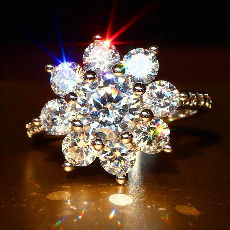 LOREDANA роскошное женское кольцо-Снежинка, модное серебряное кольцо с кристаллами и цирконием, винтажные Свадебные Кольца для женщин