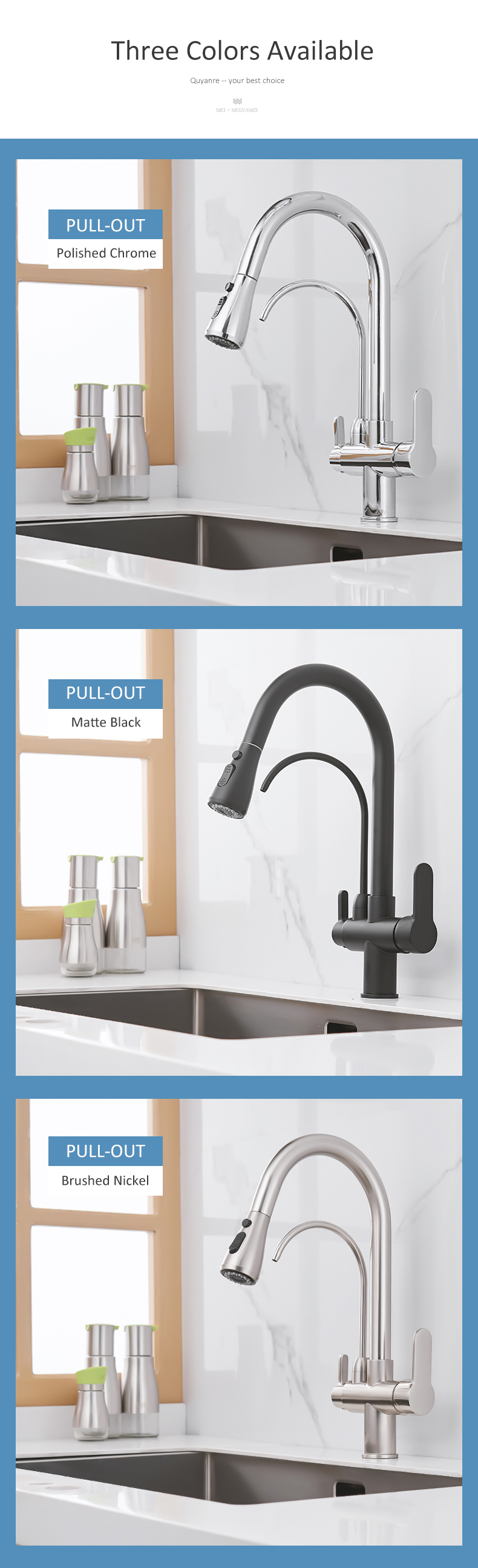 Quyanre Matte Black Filtered Crane For Kitchen Pull Out Spray 360 Rotation Water Filter Tap Three Ways Sink Mixer Kitchen Faucet