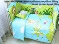2016! 6/7 PCS Leão 100% algodão bebê jogo de cama Fronhas lençóis super macio infantil, 120*60/120*70 cm