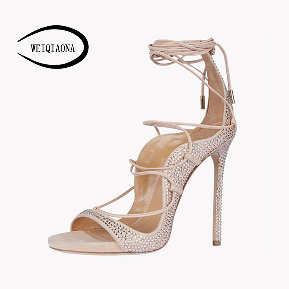 Здесь продается  WEIQIAONA Sexy Gladiator Women sandals 11cm High Heels open Toe Rhinestone Cross-tie stiletto Women Thin Heel Party Shoes  Обувь