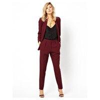 Новый Блейзер OL для работы, чтобы носить официальный пиджак брюки костюм для женщин Бизнес бордовый офисная форма Женские Костюмы комплект