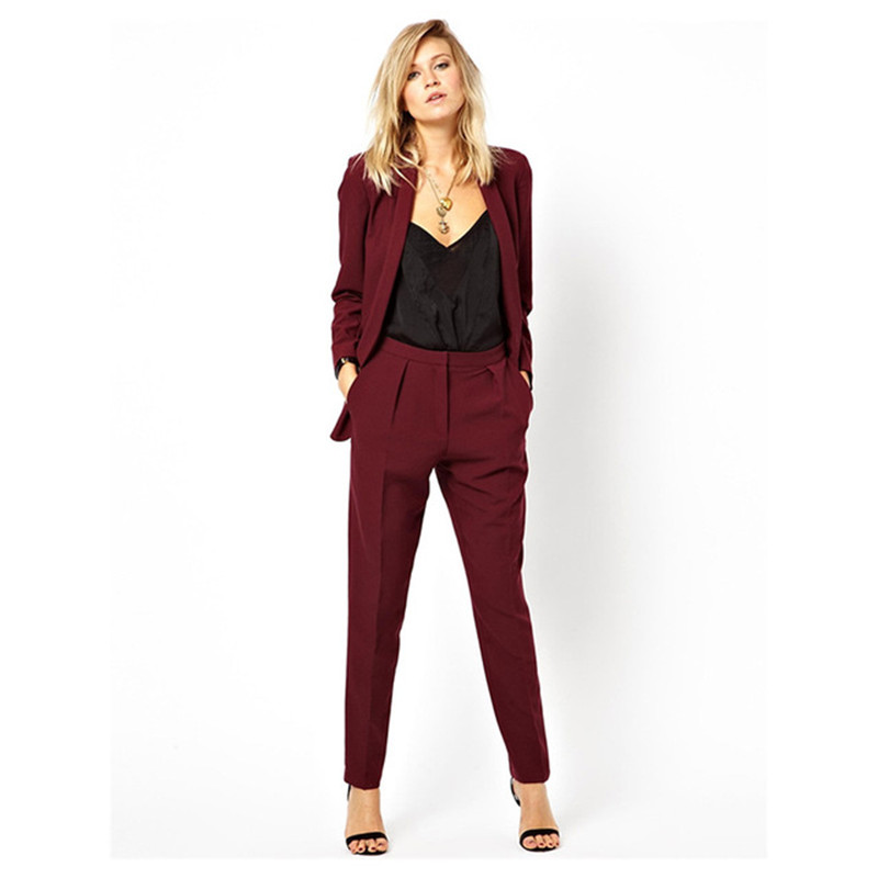 New Blazer OL Work to Wear Formal Jacket Pants Suit Women Business Burgundy Office Unifo ...