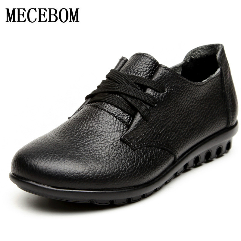 2018 Shoes Woman Genuine Leather Women Shoes Flats 3 Colors Buckle Loafers Slip On Women's Flat Shoes Moccasins Plus Size 315W