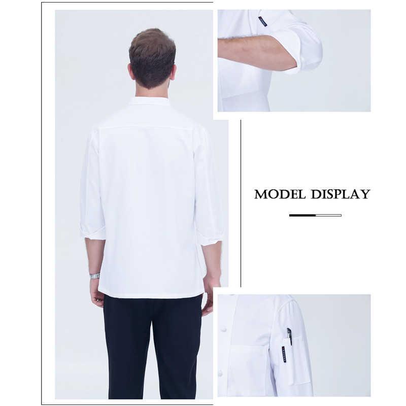 WELIVENICE 新 2019 高品質シェフ制服男性女性の布バックル複列ボタン白