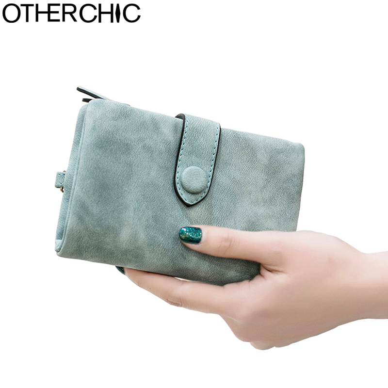OTHERCHIC Nubuck Leather Women Short Wallets Ladies Fashion Small Wallet Coin Purse Female Card Wallet Purses Money Bag 7N03-41 otherchic women short wallets small simple wallet zipper coin pocket purse woman female roomy wallet purses money bag 7n01 14
