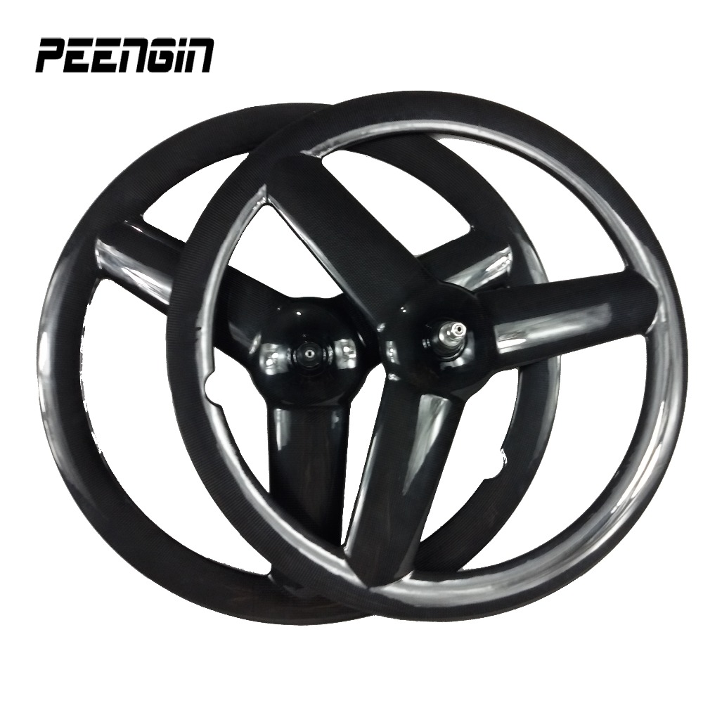 cycles part carbon tri spoke wheel clincher 700C road bike tubular fixed gear bicycle 3 spoke wheelset pro rider triathlon wheel free shipping 700c full carbon wheels 23mm width clincher tri spoke fortrack triathlon time trial road bike wheelset