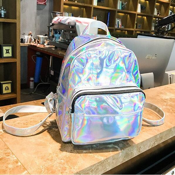 Women School Shiny Laser Mini Travel Student Cute Ladies <font><b>Leather</b></font> Hologram <font><b>Backpacks</b></font> Silver Small Holographic <font><b>Backpack</b></font> image