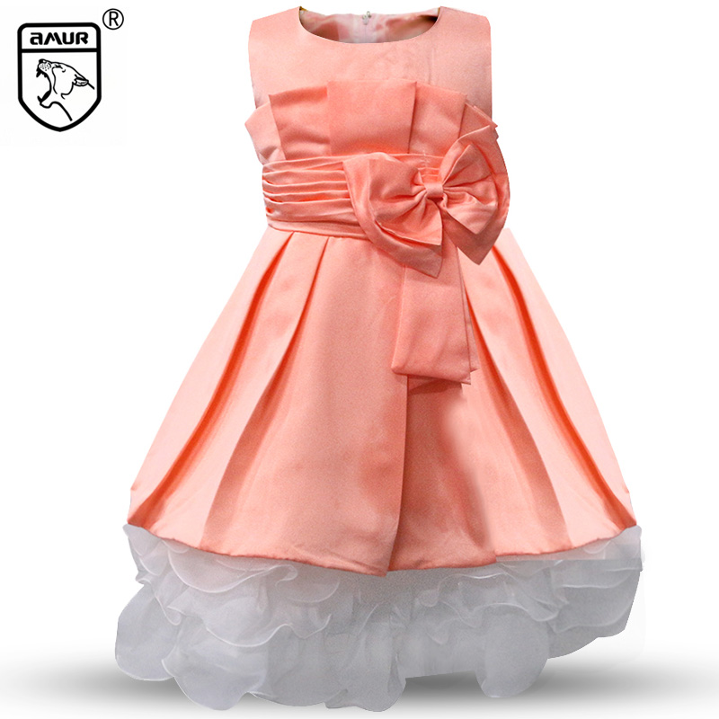 Summer Party Girl Dress Wedding Lace Tulle Flower Princess Dresses Pageant Ball Gown Bridesmaid Kids Prom Girls Clothes Orange kids tutu dress girl flower dress 2016 summer girls party dresses with gloves fashion dance dress kids girls clothes ball gown