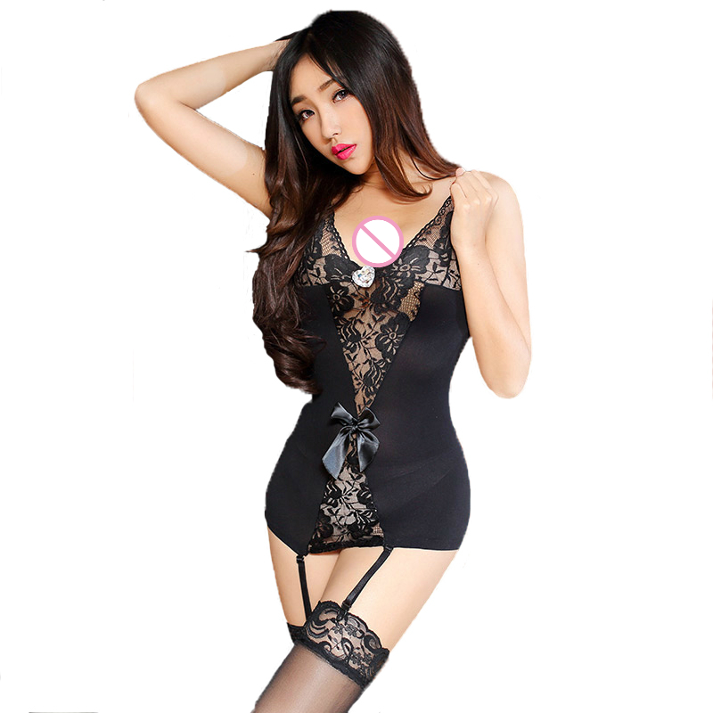 513850ce297 Women Sexy Lace Nightgown Garter Stockings Erotic Nightdress Stretch  Bodycon Mini Dress Sleepwear Hot Sexy Lingerie