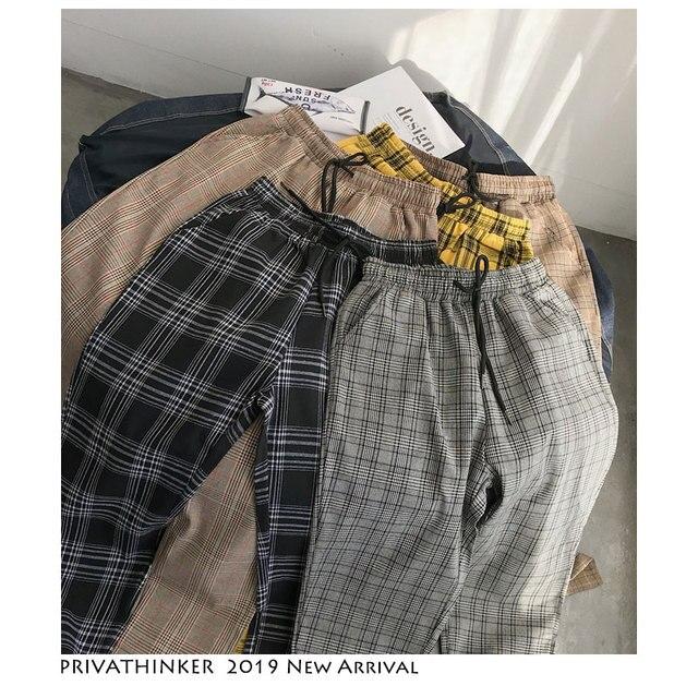 Privathinker Men Women Korean Black Plaid Casual Pants 2020 Mens Streetwear Harem Pants Male Checkered Trousers Plus Size 2