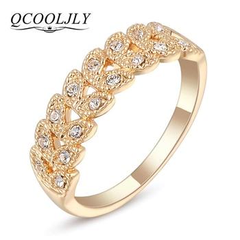 ee1a5c71c39a QCOOLJLY 2 líneas de cristal de la boda Anillos De Compromiso Color oro  Cubic Zircon anillo
