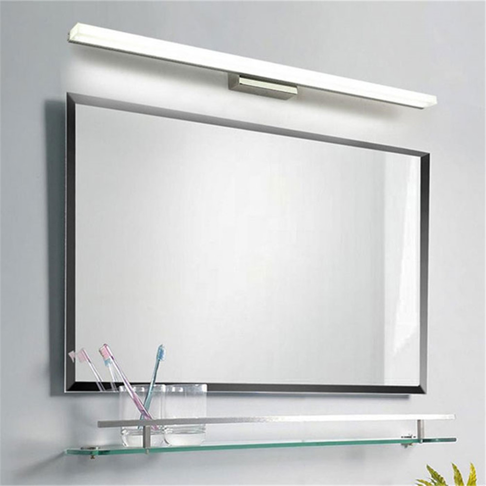 L39cm l49cm l59cm l69cm l89cm led mirror light stainless steel base acrylic mask bathroom vanity for Stainless steel bathroom lights