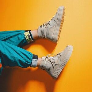 Image 3 - Aelfrec Eden/ботинки на плоской платформе с эластичным ремешком на шнурках для мужчин, модные мотоциклетные кроссовки, AE27, 2019