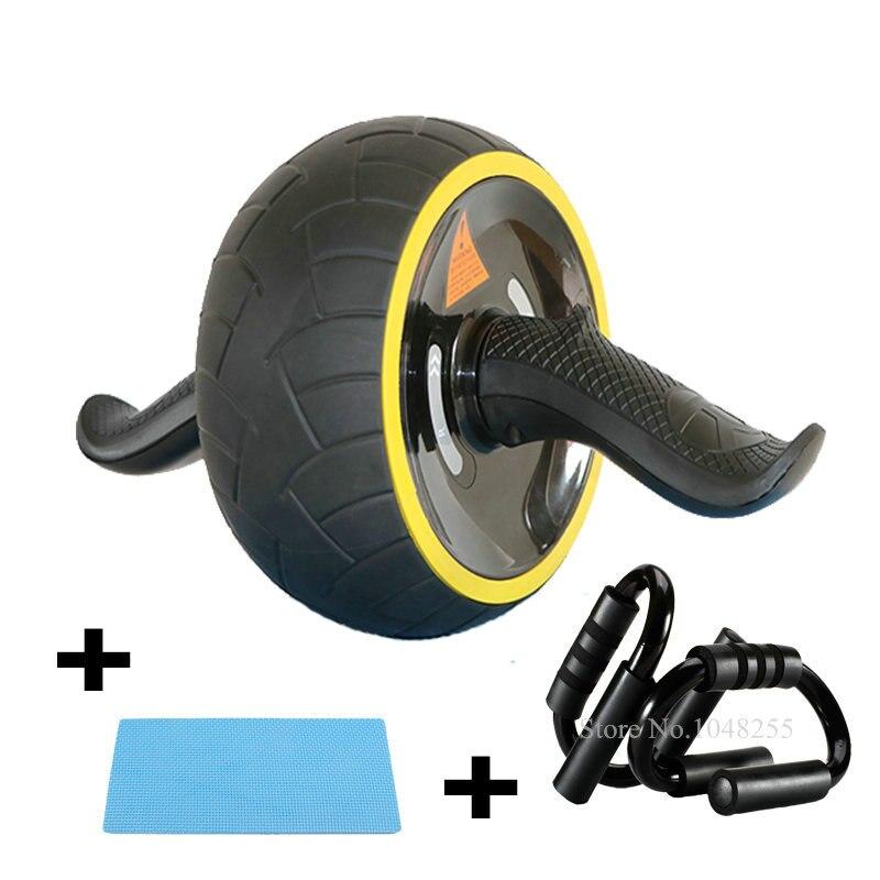 Kit de rouleau de roue 3-en-1 AB avec barres Push-Up et genouillère inclus, équipement d'entraînement de gymnastique à domicile pour l'exercice Abdominal