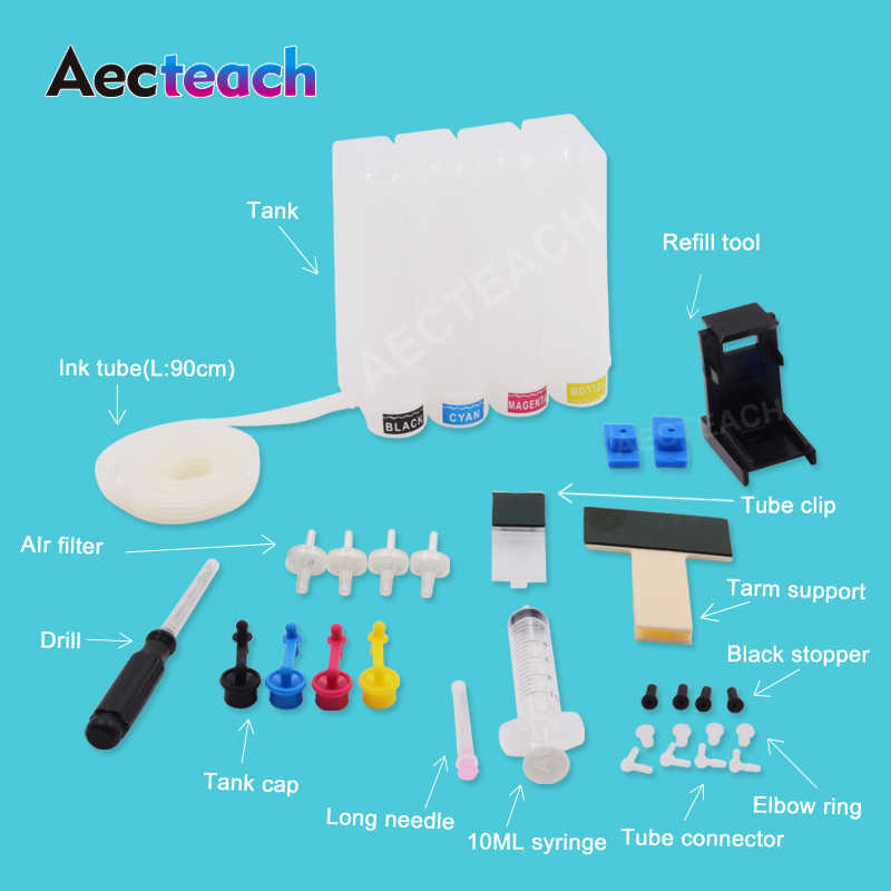 Aecteach DIY CISS 302XL untuk HP 302 XL Ink Cartridge HP Deskjet 2130 2135 1110 3630 3632 Officejet 3830 3834 4650 CISS Sistem