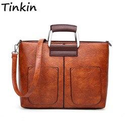Bolso bandolera Casual de gran capacidad para mujer de cuero PU Vintage de Tinkin