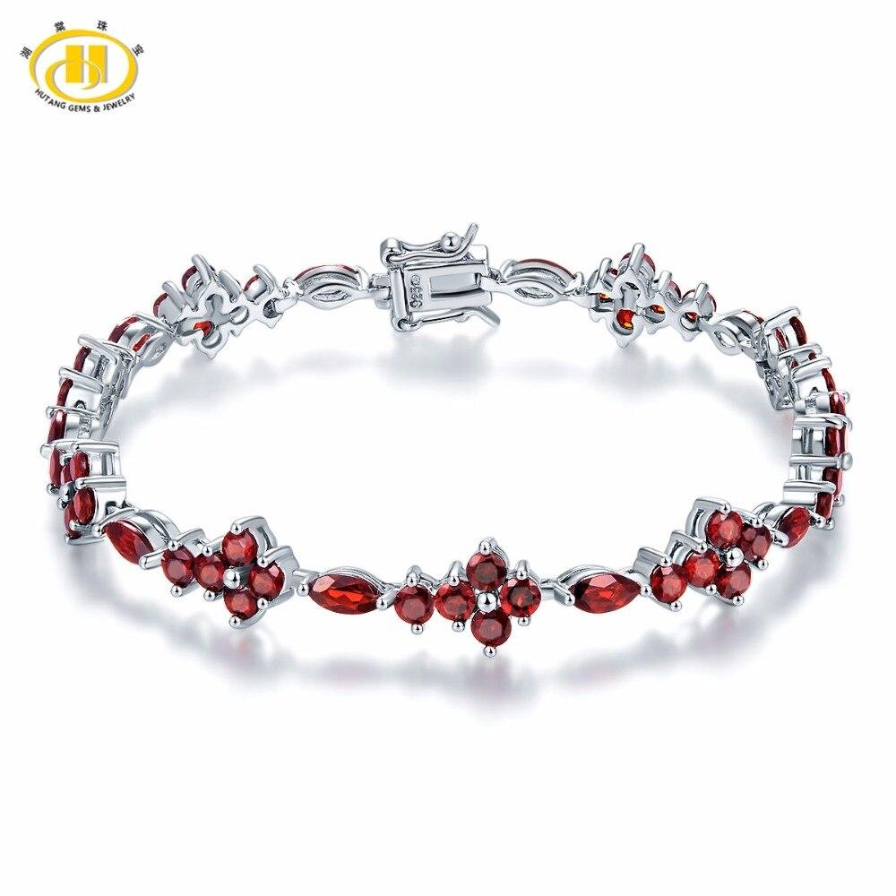 Hutang 10 4Ct Natural Garnet Solid 925 Sterling Silver Tennis Bracelet for women s Gemstone Fine