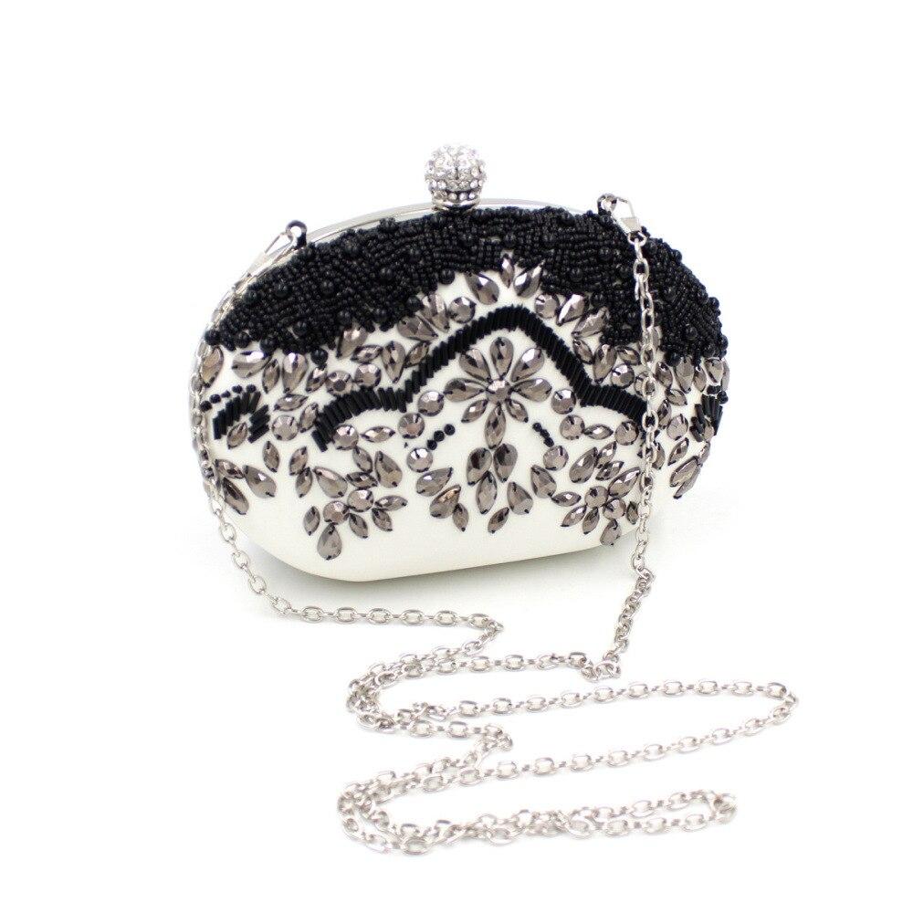 Nuevas Mujeres de la moda-bolso de perlas de diamantes negro mini bolsa de aleta
