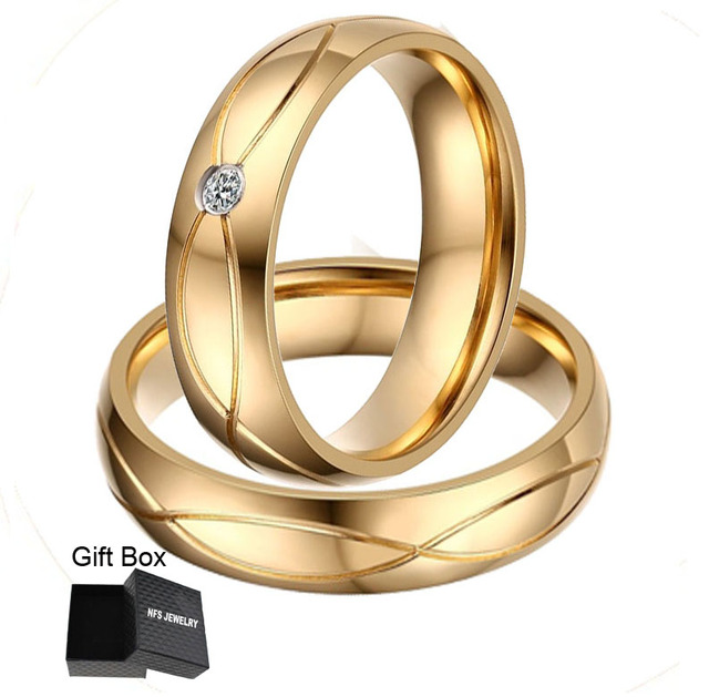 Nfs 1 Pair Gold Color Custom Alliance Stainless Steel Wedding Bands