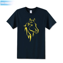 2017 Fashion Horse Print T Shirt Men Short Sleeve Round Collar Cotton Hip Hop Men Tee Shirts Animal Printed T-Shirts Plus Size недорого