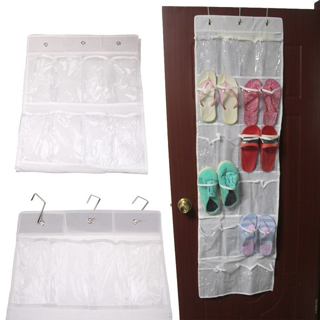 Newest 24 Pockets Shoes Storage Bag Clear Over Door Hanging Shoe Organizer  Rack With Hooks 4