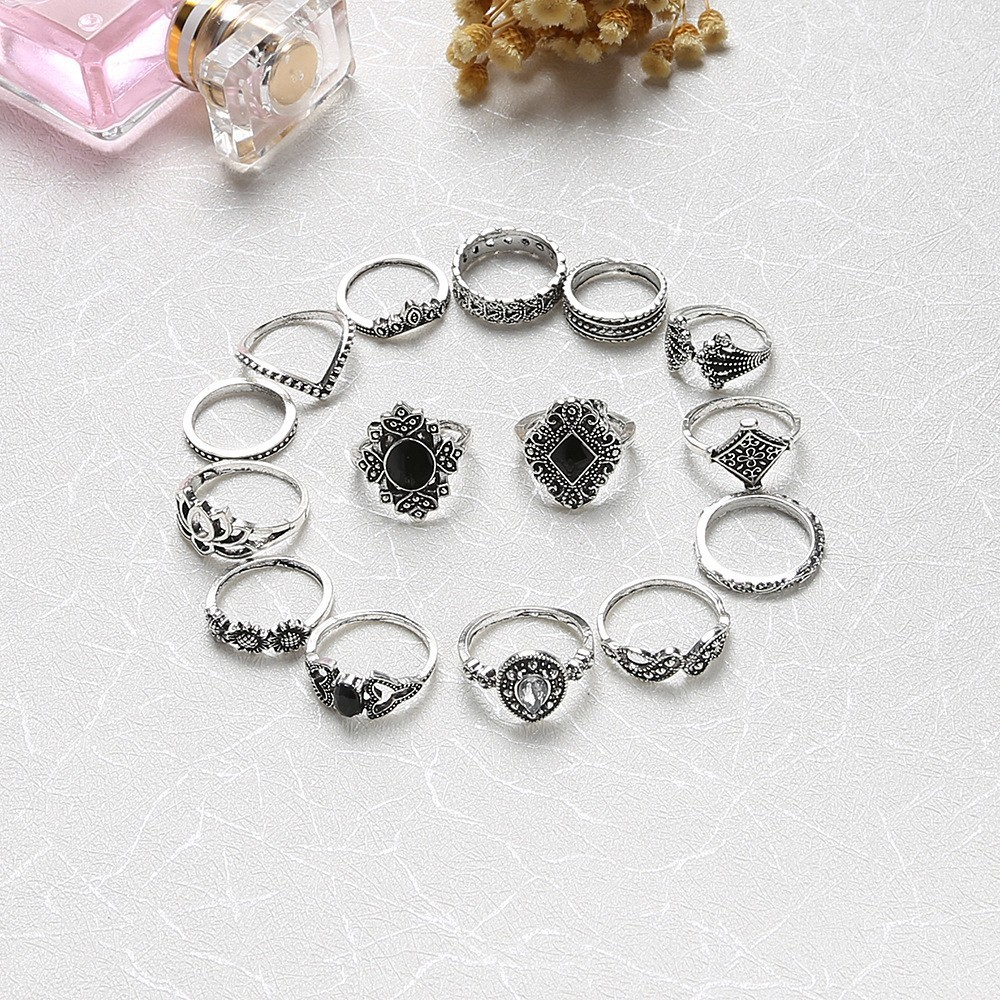 Bague Femme Vintage Rings for Women Boho Geometric Flower Crystal Knuckle Ring Set Bohemian Midi Finger Jewelry Silver Color 23