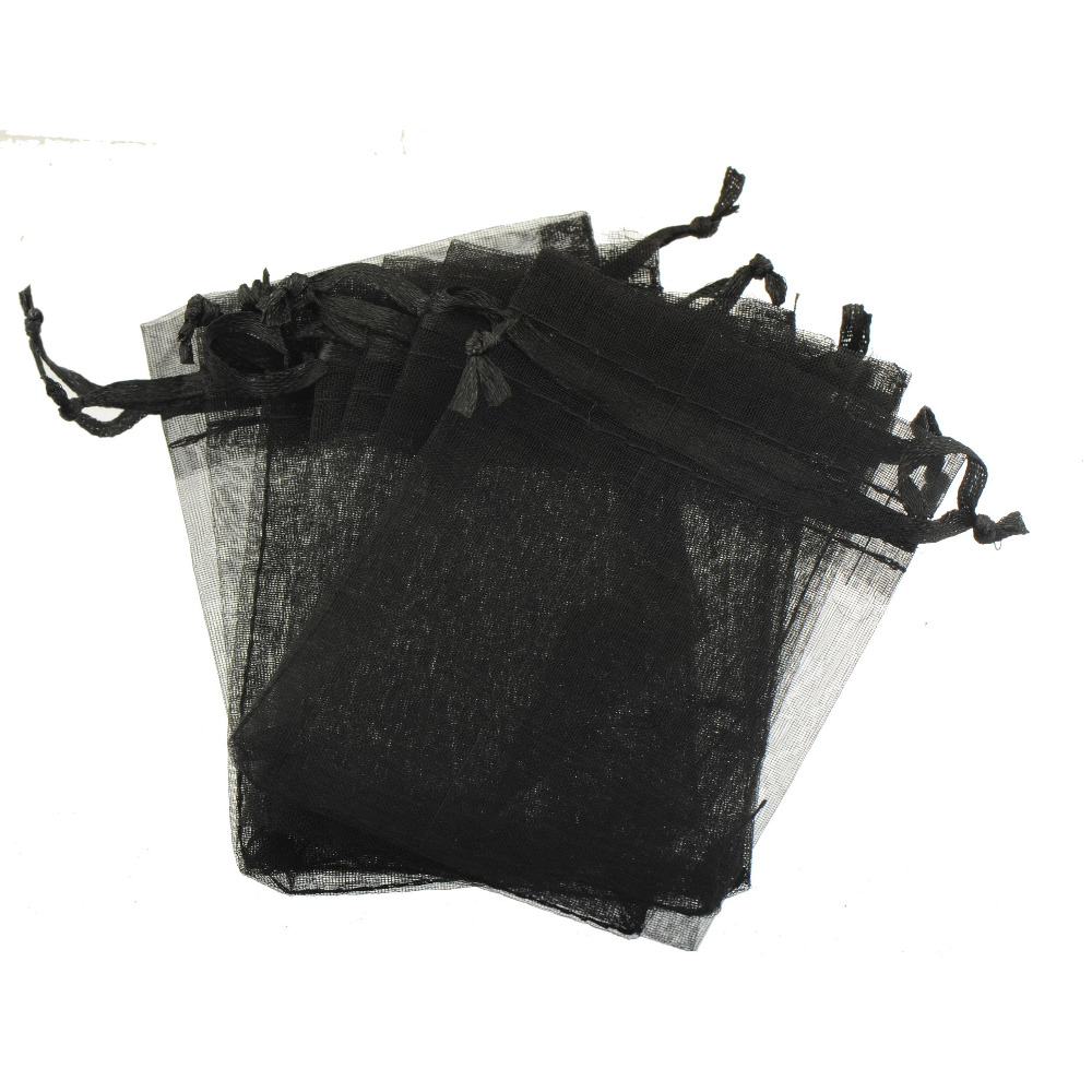 Jewelery Display Bags Packaging Decorations Pack Wedding Party Gifts Bracelets Bead Black Organza Drawstring Lucency 7*9cm 30pcs