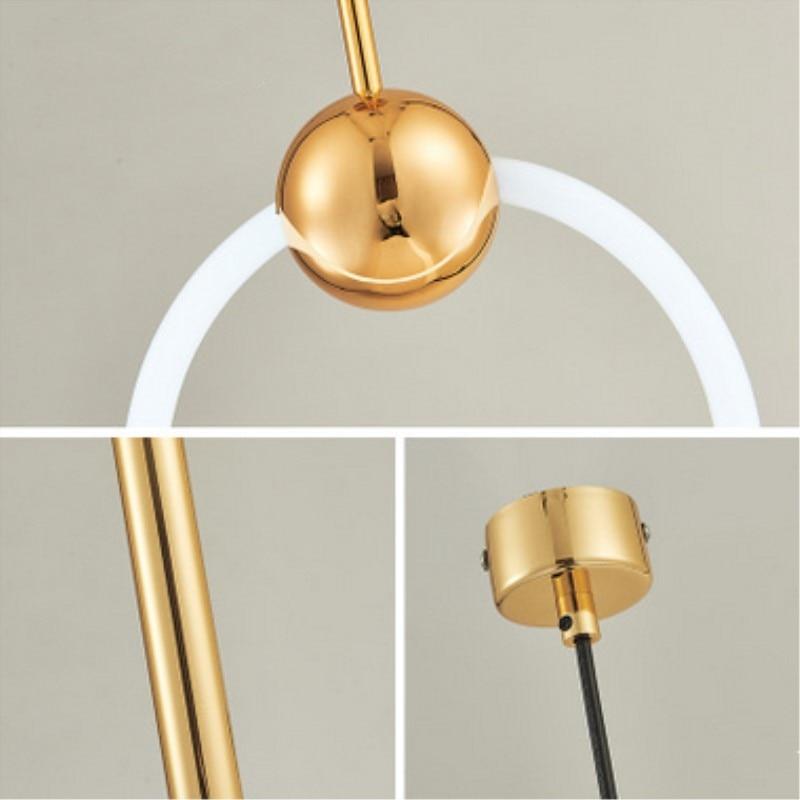 Nordique Art LED Loft créatif Style concis salle à manger suspension lampe or anneau café Restaurant décoration lampe livraison gratuite - 3